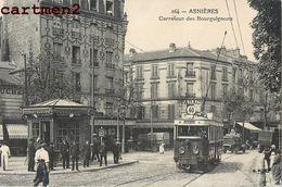 ASNIERES CARREFOUR DES BOURGUIGNONS TRAMWAY TRAIN TRANSPORT LOCOMOTIVE 92 - Asnieres Sur Seine