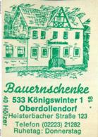 1 Altes Gasthausetikett, Bauernschenke, 5330 Königswinter 1 Oberdollendorf, Heisterbacher Straße 123 #196 - Matchbox Labels