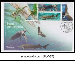 SPAIN - 2015 PROTECTED ANIMALS / TURTLE FISH DRAGON FLY BATS 4V FDC - FDC