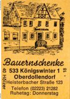 1 Altes Gasthausetikett, Bauernschenke, 5330 Königswinter 1 Oberdollendorf, Heisterbacher Straße 123 #196a - Matchbox Labels