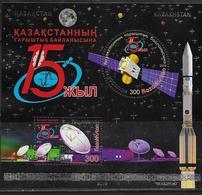 KAZAKHSTAN, 2019, MNH,SPACE, SATELLITES, SHEETLET - Espace