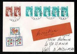 !!!  ANDORRE Lettre PNU 1,20F 5-6-1981 Taxe Poste Restante LA MASSANA Tarif Réglementaire 1,40F 11-6-81 Dos Arrivée - Andorre Français