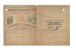 GAZ  Société Du Gaz De Paris LOTERIE NATIONALE  Facture Années 1930 Bien Pli Fendu à 50% 2 Scans - Electricité & Gaz