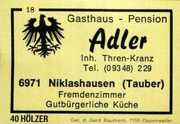 1 Altes Gasthausetikett, Gasthaus – PensionAdler, Inh. Thren-Kranz, 6971 Niklashausen (Tauber) #198 - Matchbox Labels