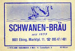 1 Altes Gasthausetikett, Schwanen-Bräu, 8601 Ebing, Marktpl. 11 #199 - Matchbox Labels