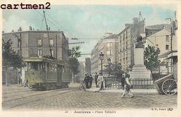 ASNIERES PLACE VOLTAIRE TRAMWAY CHEMIN DE FER TRAIN LOCOMOTIVE 92 - Asnieres Sur Seine