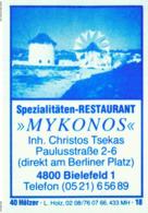 1 Altes Gasthausetikett, Spezialitäten-Restaurant Mykonos, Inh. Christos Tsekas, 4800 Bielefeld, Paulusstraße 2-6 #200 - Matchbox Labels