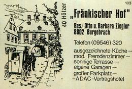 1 Altes Gasthausetikett, Fränkischer Hof, Bes. Otto U. Barbara Ziegler, 8602 Burgebrach #202 - Matchbox Labels