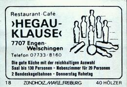 1 Altes Gasthausetikett, Hegau Klause, Restaurant – Café, 7707 Engen-Welschingen #203 - Matchbox Labels