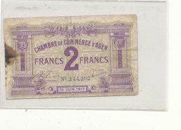 BILLET  CHAMBRE DE COMMERCE    D 'AGEN S  2 FRANCS - Chambre De Commerce