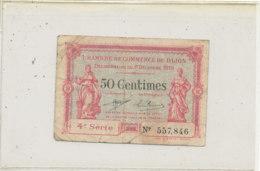 BILLET  CHAMBRE DE COMMERCE   DE   DIJON  50 CENTIMES - Chamber Of Commerce