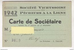 Fixe France Régime De Vichy Pétain Carte Sociétaire Société Vichyssoise Pêche à La Ligne Reçu Taxe Loi 12 Juillet 1941 - 1939-45