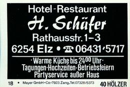 10 Alte Gasthausetiketten, Hotel-Restaurant H.Schäfer, 6254 Elz, Rathausstr. 1-3 #205 - Matchbox Labels