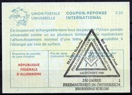 250 JAHRE FREIMAUREREI IN ÖSTERREICH 3924 ROSENAU / FRANCS-MAÇONS / FREEMASONSReply Coupon Reponse Antwortschein IAS IR - Freemasonry