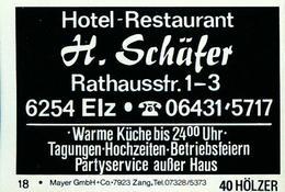 20 Alte Gasthausetiketten, Hotel-Restaurant H.Schäfer, 6254 Elz, Rathausstr. 1-3 #205 - Boites D'allumettes - Etiquettes