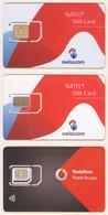GSM SIM - Mint - Switzerland - 2 Diff. Natel + 1 Vodafone - Unbroken Chip Yyy - Suisse