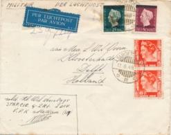 Nederlands Indië - 1949 - 4 Zegels, Mengfrankering Indië / Indonesia Op Militaire LP-cover Van LB TAROETOENG Naar Delft - Niederländisch-Indien