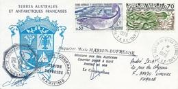 """TAAF-Martin De Vivies-St Paul-AMS: Lettre """"Marion-Dufresne"""" Avec N°69 Algues Et 71 Alevinage - 01/01/1979 (cf Verso) - Terres Australes Et Antarctiques Françaises (TAAF)"""