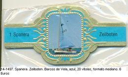 Vitolas Spanera. Zeilboten. Barcos De Vela. Azul. 20 Vit. FM. Ref. 14-1497 - Vitolas (Anillas De Puros)