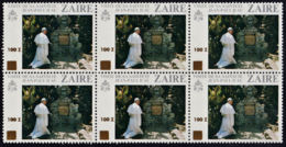 A0917 ZAIRE 1990, SG 1316 100Z Surcharge On Pope's Visit, MNH Block Of 6 - Zaire