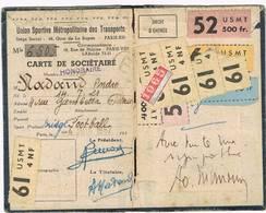 Carte De Sociétaire De L'Union Sportive Métropolitaine Des Transports ( USMT ) Dédicacée Alain MIMOUN - 1952 - Athlétisme