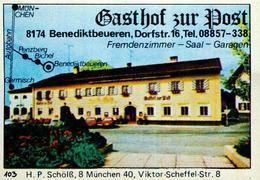 1 Altes Gasthausetikett, Gasthof Zur Post, 8174 Benedktbeuren, Dorfstr. 16 #211 - Matchbox Labels