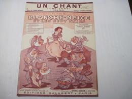 Livre Un Chant Partition Blanche Neige Et Les 7 Nains éditions SALABERT 1938 TBE - Partitions Musicales Anciennes