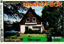 1 Altes Gasthausetikett, Gaststätte Brans's Eck, 2901 Tungeln #213 - Matchbox Labels