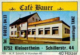 1 Altes Gasthausetikett, Café Bauer, 8752 Kleinostheim, Schillerstr. 44 #214 - Matchbox Labels