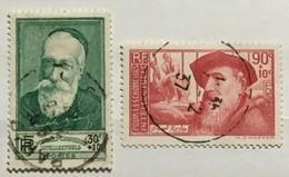 Timbres France YT 343 344 (°) Obl 1937 Au Profit Des Chômeurs Intellectuels Anatole France Rodin (côte 10 Euros) – 463 - Frankrijk