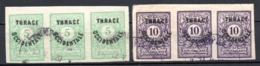 THRACE - (Occupation Interalliée) - 1920 - Taxe - Bandes De 3 Ex. Des N° 4 à 7 - (Lot De 4 Valeurs Différentes) - Gebraucht