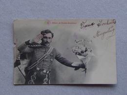 Carte Photo Fantaisie 1903 Militaire Humoristique Bonne Fête Fêtes & Porte-Bonheur - Humorísticas