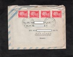 LAC - ARGENTINE - Cacget BUENOS AIRES Sur YT 520 (x4) - Enveloppe Poue SAO PAULO - Buenos Aires (1858-1864)