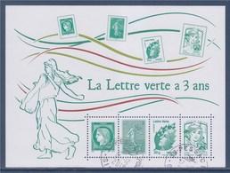 = La Lettre Verte A 3 Ans TVP Marianne Et La Jeunesse Et Beaujard; 0.61€ Cérès & 0.61€ Semeuse; 4593 4774 4908 490 - Blocs & Feuillets