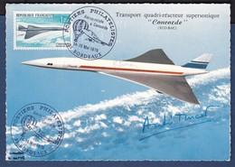 CONCORDE AUTOGRAPHE D'ANDRE TURCAT SUR CARTE POSTALE SIGNEE PAR EXPERT B.SINAIS - Concorde