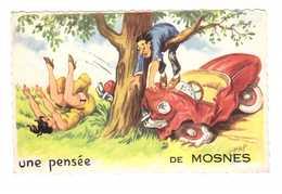 37 Mosnes Carte Fantaisie Une Pensée De Mosnes Cachet Mosnes Illustration Illustrateur Chap Chaperon Jean - Autres Communes