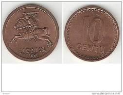 Lithuania 10  Centai 1991  Km 88  Unc !!!!!! - Lituanie