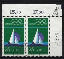 BUND - Mi-Nr. 720 Im Paar Rechte Obere Ecke Gestempelt - [7] République Fédérale