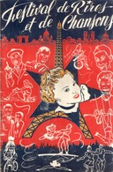Beau Programme Ancien FESTIVAL De RIRES ET De CHANSONS Autographié Par LINE RENAUD - Programmes