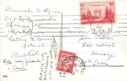N°403 20e Anniversaire Armistice Timbre Seul Sur Carte + Timbre Taxe Cachet 1938 Cpa Chat Humanisé Vélo Chats Humanisés - Storia Postale