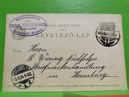Thomas, Scheeser & Galtz. Kronstadt-Brasso To Hamburg 1905 - Postal Stationery