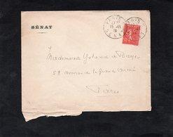 LSC 192 - Cachet PARIS  SENAT Sur YT 199 - Enveloppe Entête SENAT - Marcophilie (Lettres)