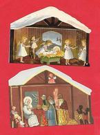 Noël - Bébé, Mages -  2 Cartes Doubles ; En Forme De Crèche - Christmas
