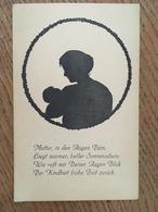 "Carte, Silhouettes D'une Mére Portant Son Bébé Et Texte "" Mutter, In Den Augen Dein, Liegt Warmer, Beller Sonnenschein"" - Scherenschnitt - Silhouette"