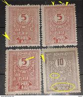 Romania 1916-18 Help Stamps Timbru Ajutor,, 5band 10b, Lot 4 Stamps Errors - Variedades Y Curiosidades
