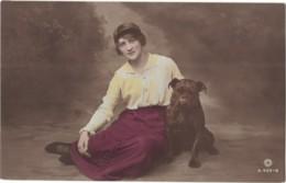 Dog - Women With British Bulldog, Romatic, Glamour, Hand Tinted - Dogs