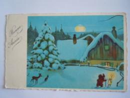 Bonne Année Kerstman In De Sneeuw Père Noël Dans La Neige Santa In The Snow Circulée 1936 Flamme - Santa Claus