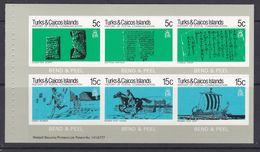 Turks Et Caïques 1979 454-459 ** Carnet Histoire Des Postes Manuscrits Cheval Bateau Galère Romaine - Turks- En Caicoseilanden