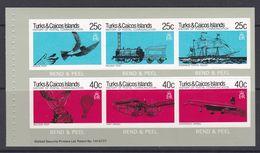 Turks Et Caïques 1979 460-465 ** Carnet Histoire Des Postes Pigeon Train Bateau Ballon Avion Concorde - Turks- En Caicoseilanden
