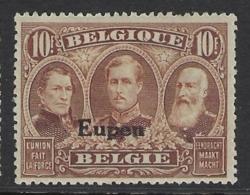 BELGIUM 1920 EUPEN 10Fr Nº 21 *MH - [OC55/105] Eupen/Malmedy